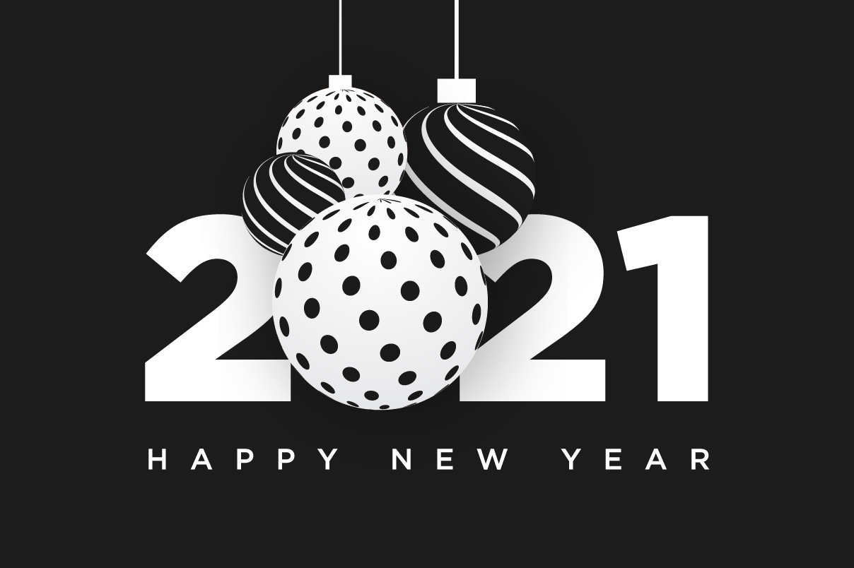 Happy New Year 2021 Black & White Clipart