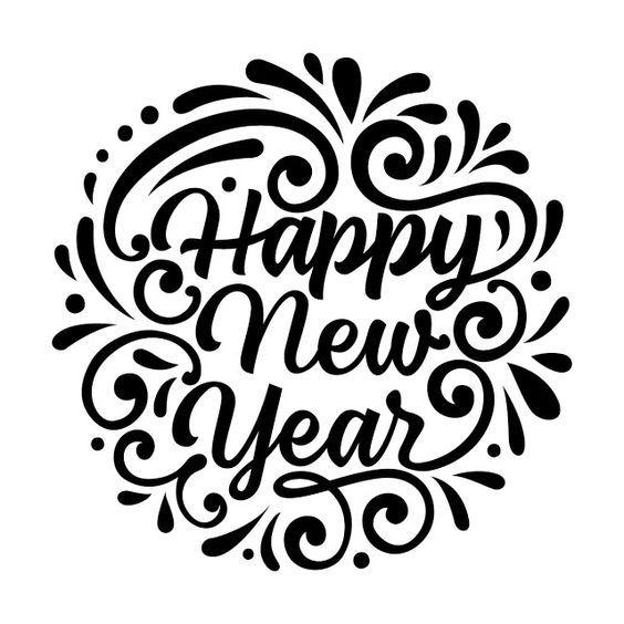 Happy New Year Black & White Clip art