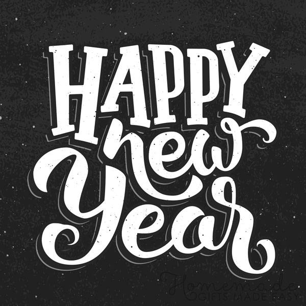 Happy New Year Black & White Clipart